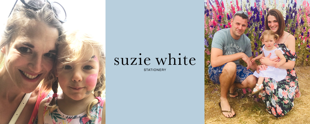 Photos of Suzie from Suzie White Stationery, about us page.