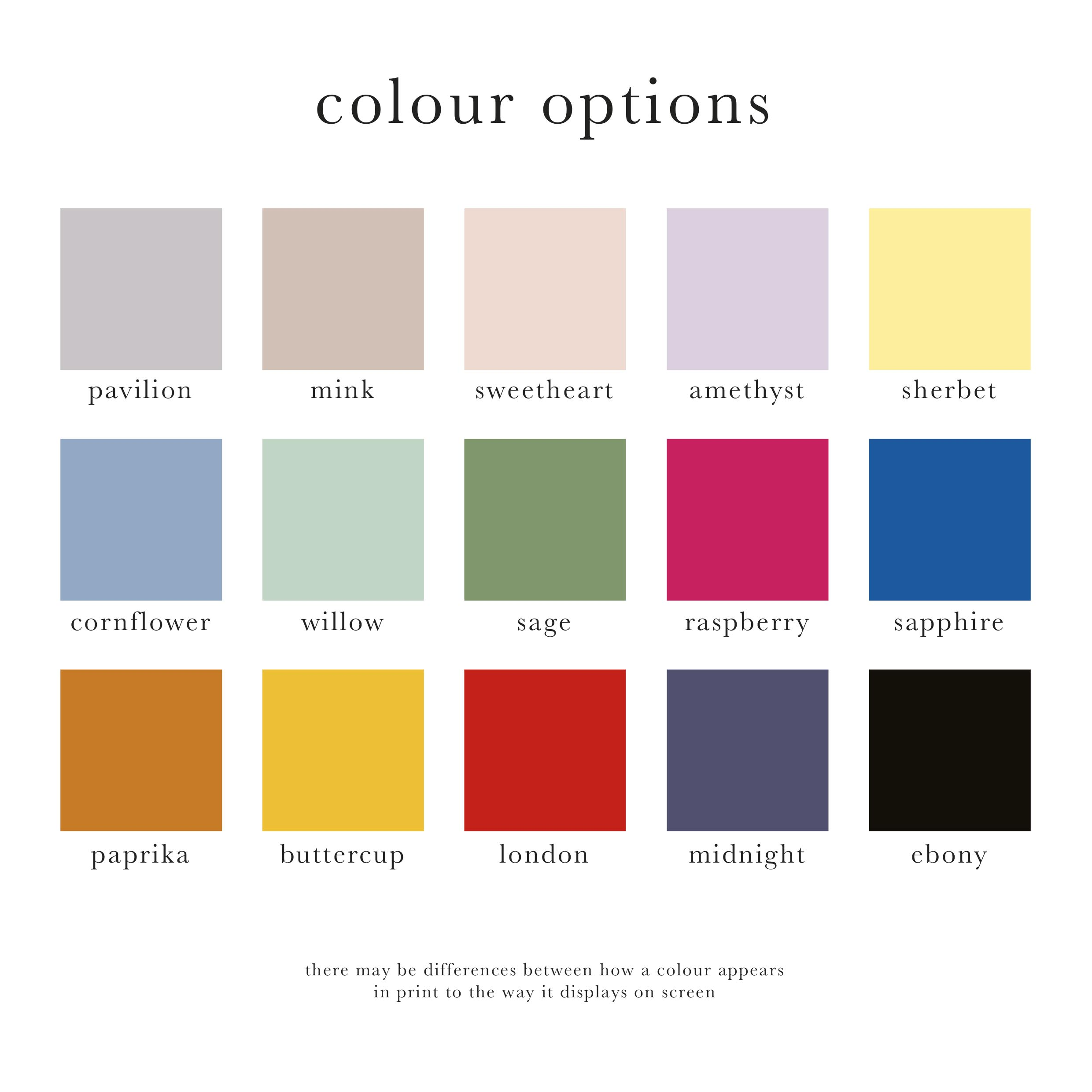 Colour options for funeral stationery, funeral order of service. Colour swatches, colour choices.