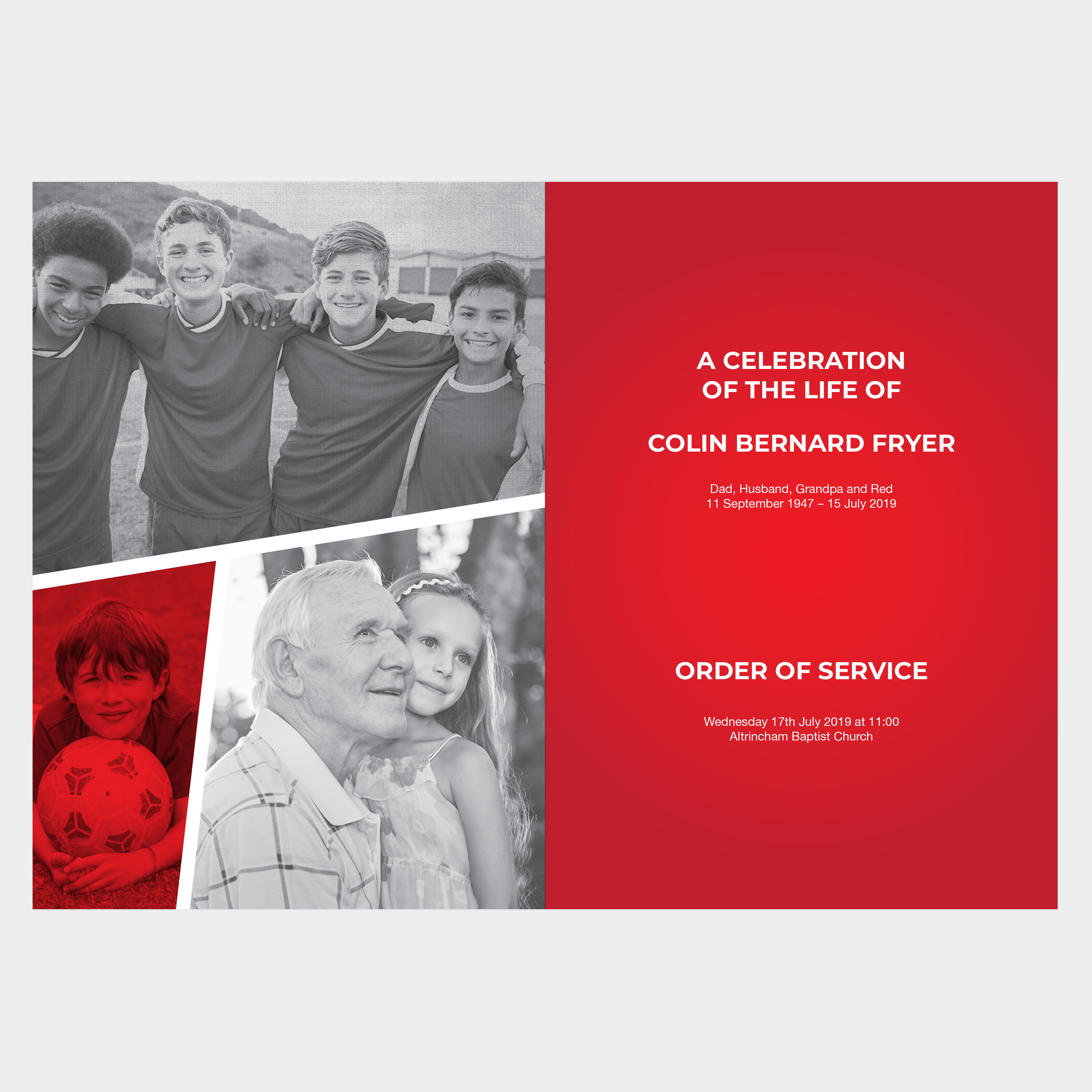 Football Funeral Order of Service, Manchester United funeral order of service, Liverpool funeral order of service, Sunderland funeral order of service