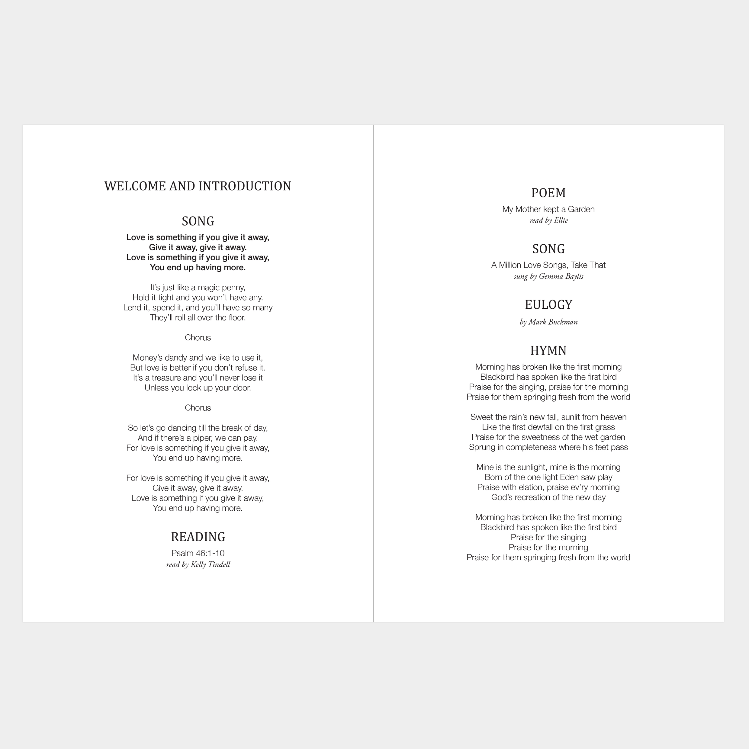 Beautiful funeral order of service, elegant, black and white photos, large photos, classic, timeless