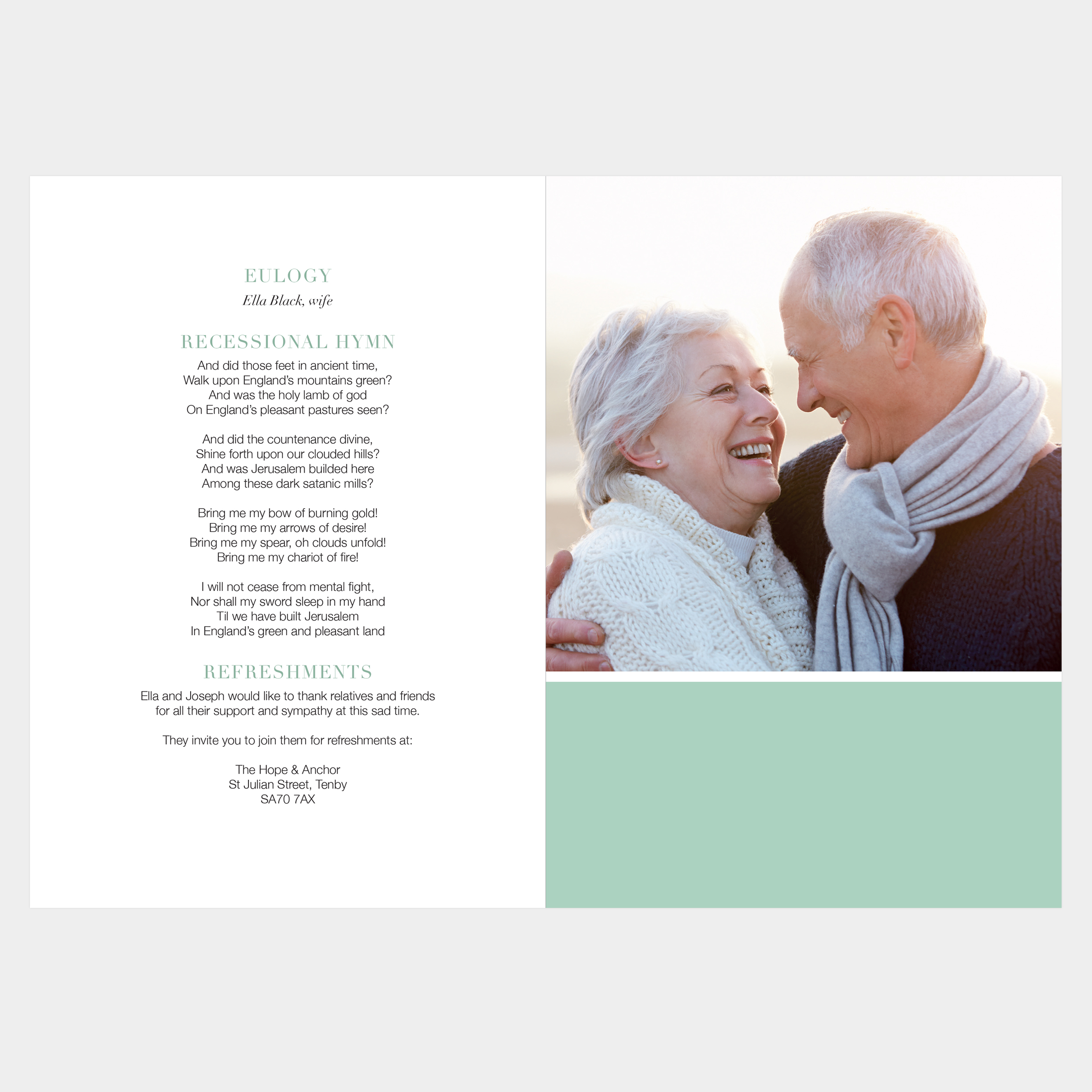 Funeral service booklet. Modern, beautiful funeral stationery. Photo collage. Colour options. Green.