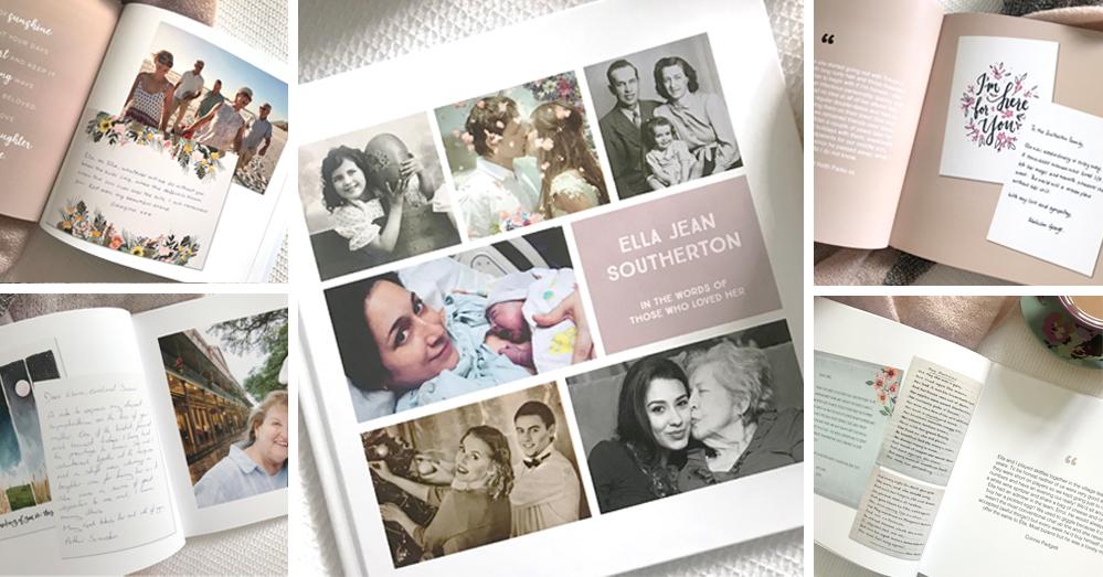 Beautiful memory book; hardback memorial book, full colour memory book