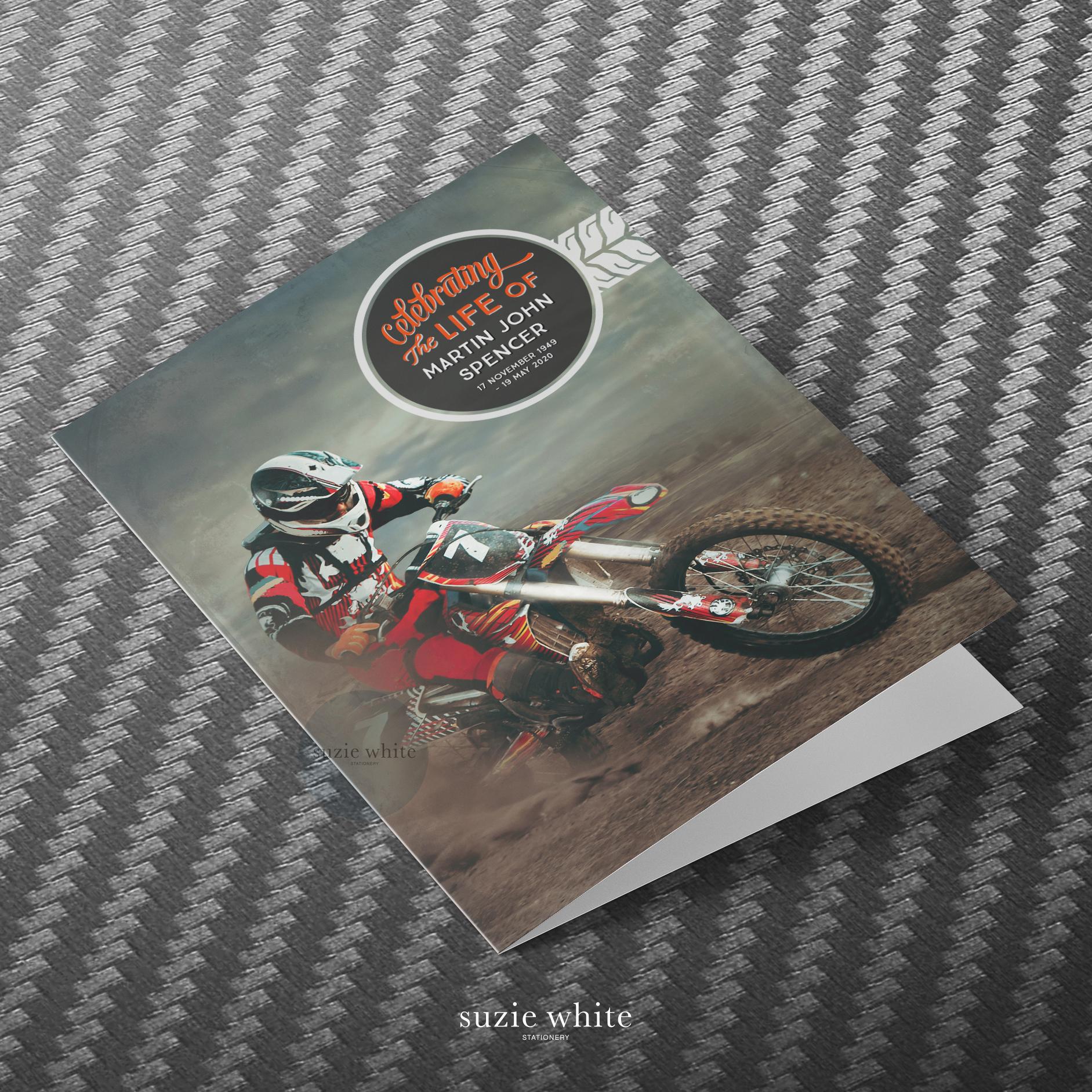 Motorbike funeral order of service. Motorcycle funeral stationery. Motorcycle theme funeral.