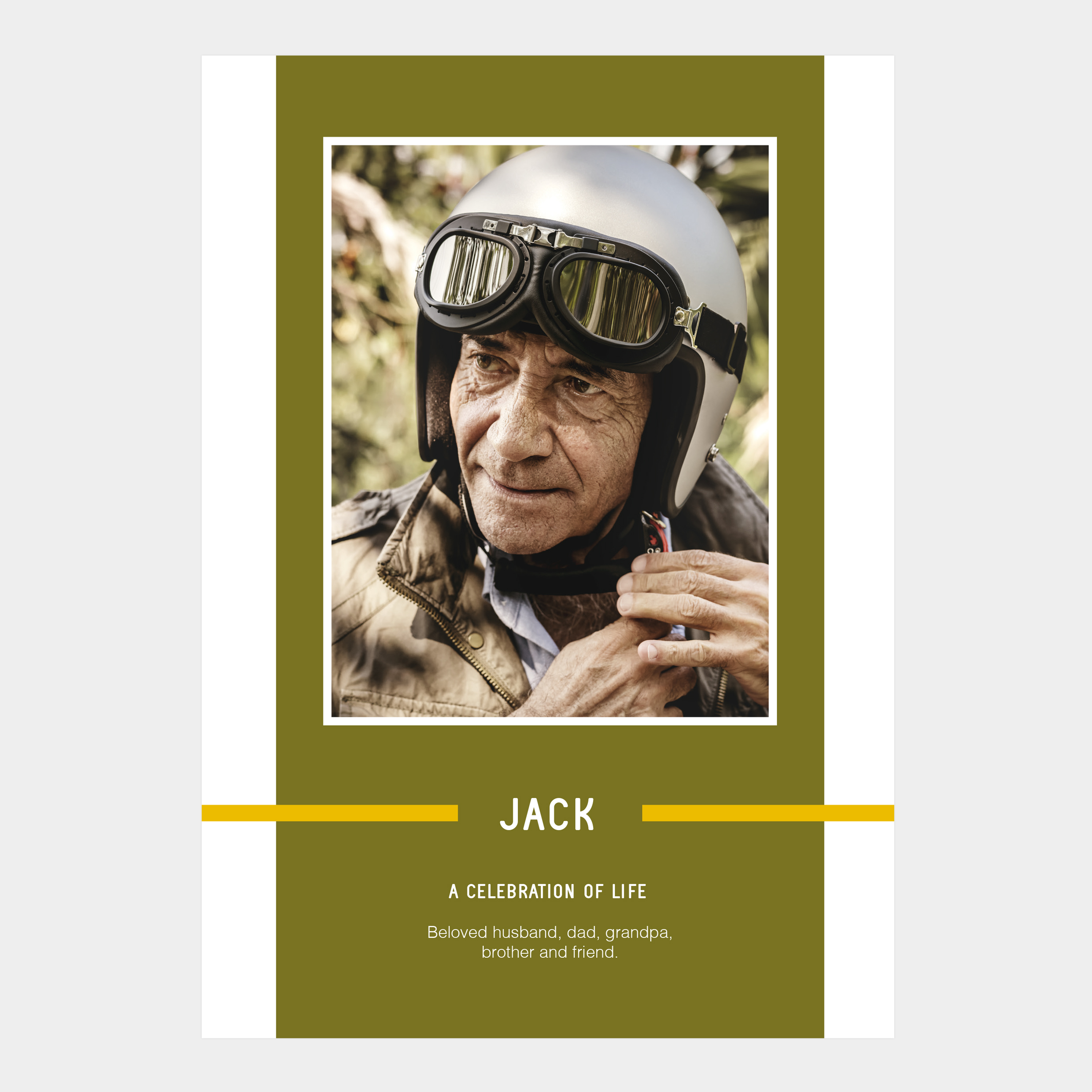Bold funeral order of service design, striking colours, belt and braces, masculine design, modern, contemporary, memorial, memorial booklet