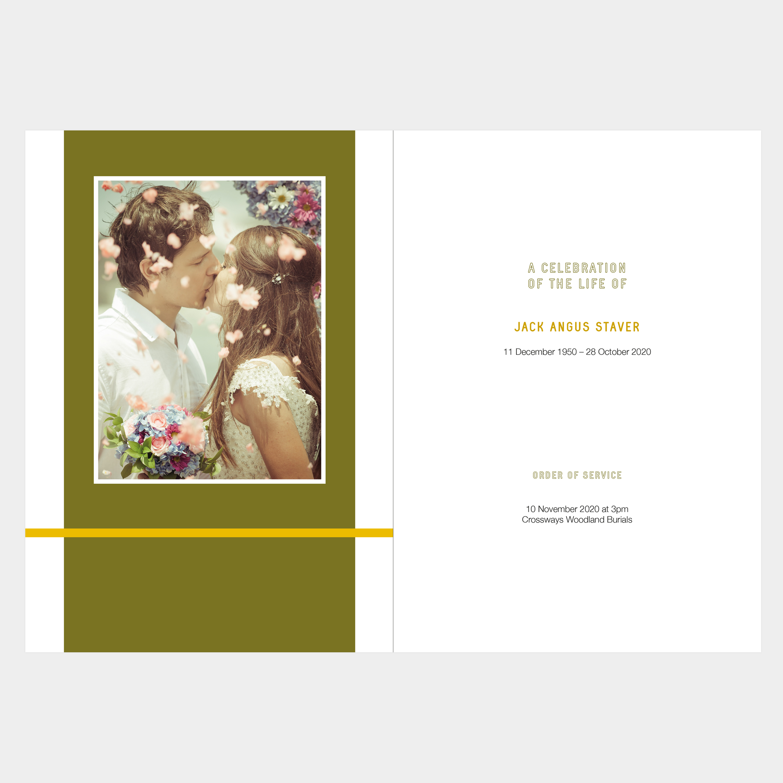 Bold funeral order of service design, striking colours, belt and braces, masculine design, modern, contemporary, memorial, memorial booklet