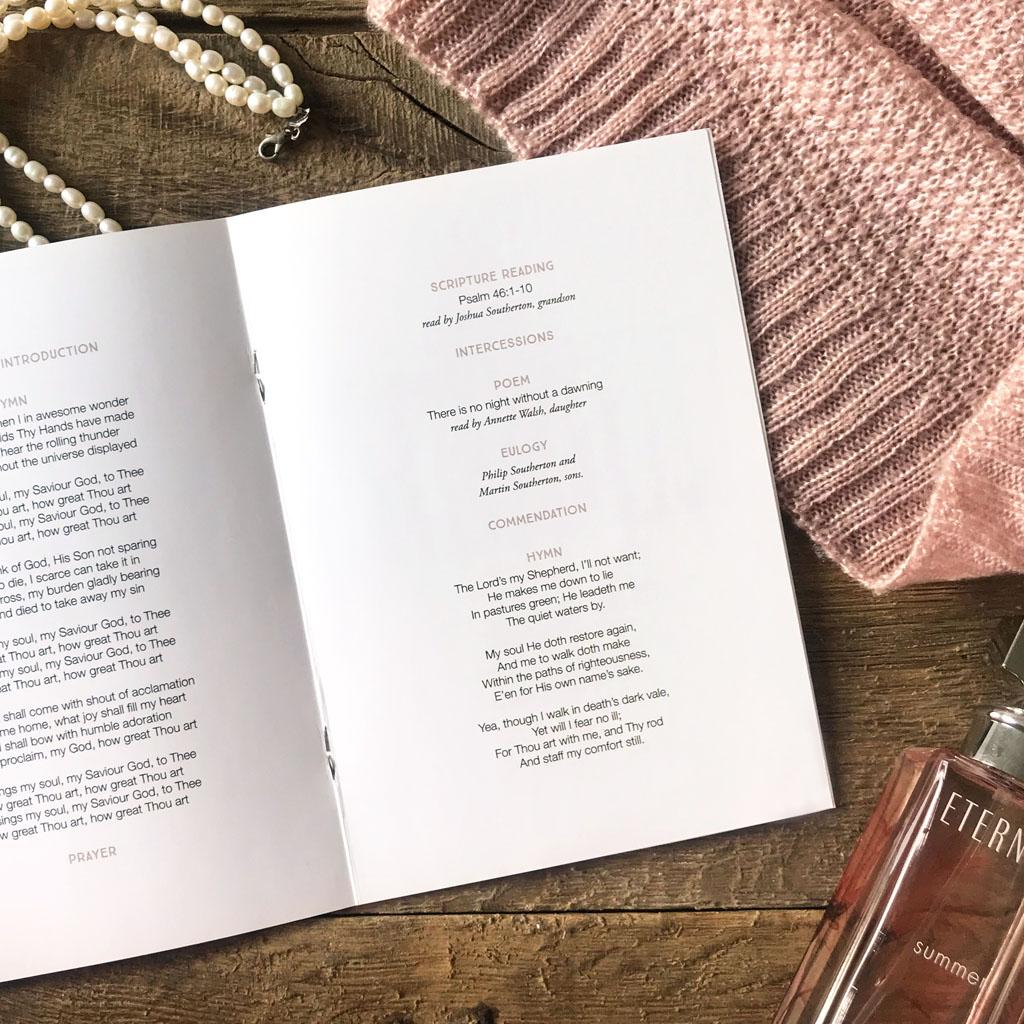 Funeral order of service booklet. Modern, beautiful funeral order of service. Favourite photos. Photo collage. Celebration of life.