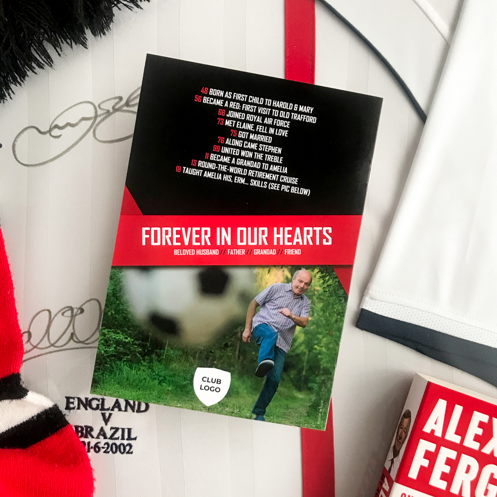 Football Funeral Order of Service, Manchester United funeral order of service, Liverpool funeral order of service, Sunderland funeral order of service, Chelsea funeral order of service