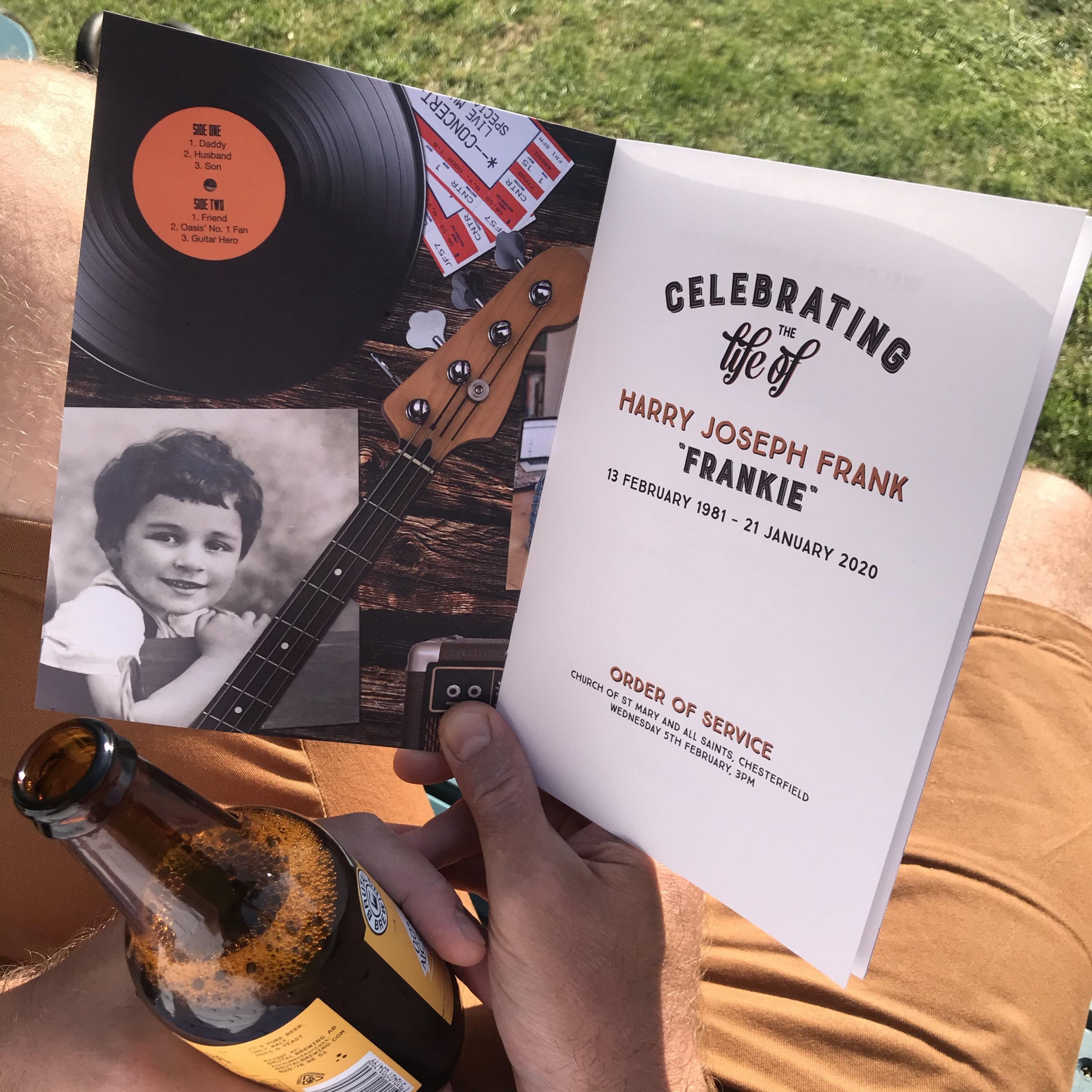 Music theme funeral order of service. Vinyl record. Funeral booklet. Drum sticks.
