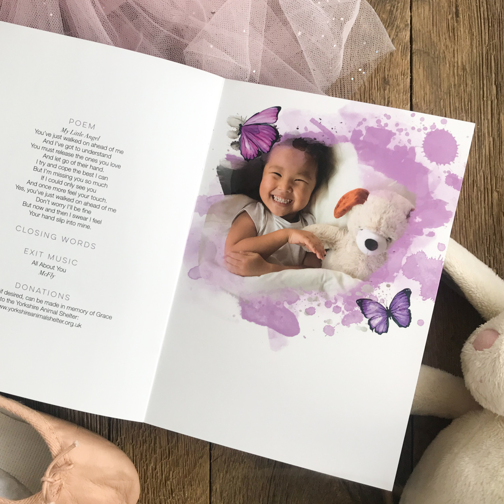 Purple watercolour splashes and purple butterflies funeral order of service, butterfly themed memorial book. Child funeral.