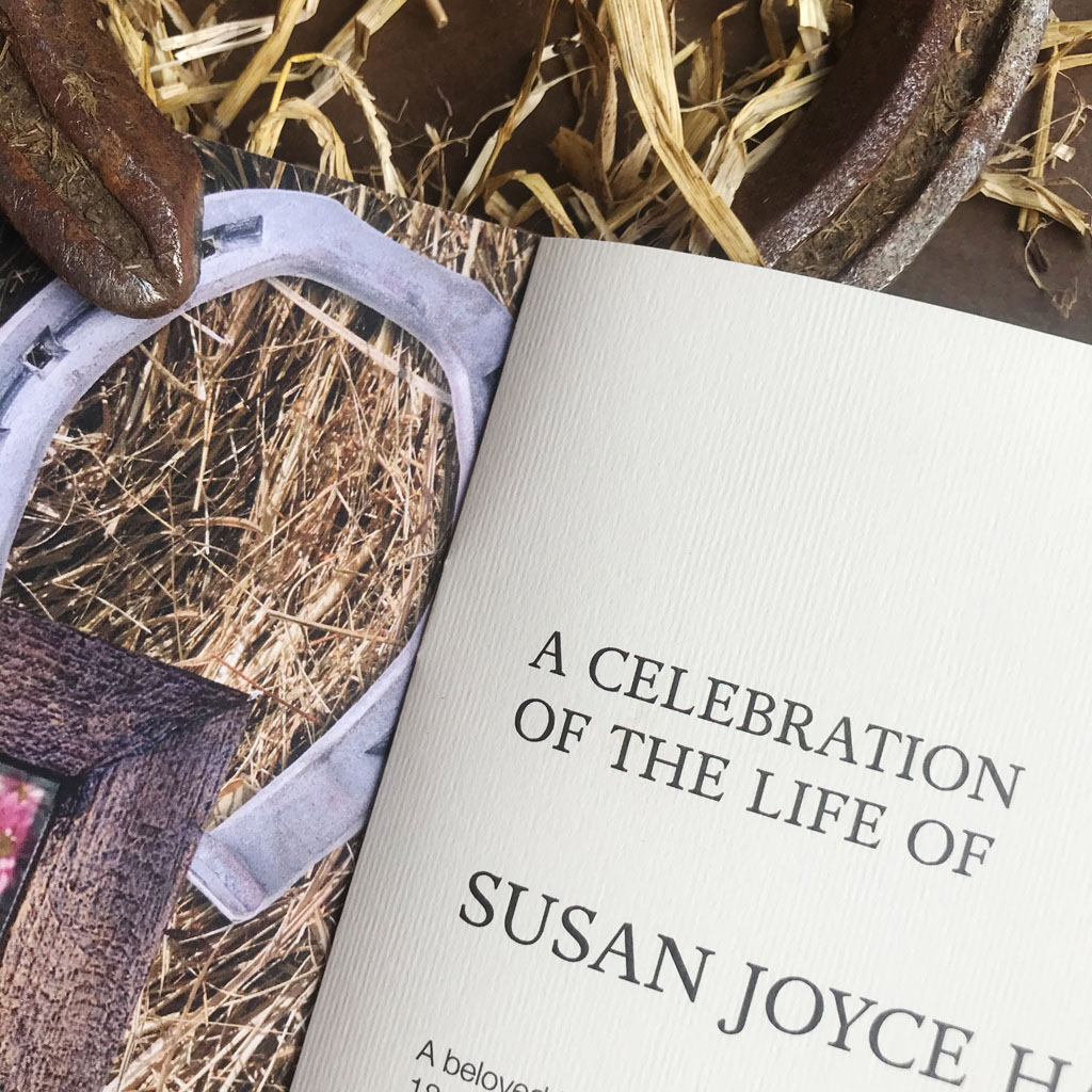Horse themed funeral Order of Service. Horseshoes, rosettes, reigns, straw, hay, grooming brush. Horse lover, horse rider. Funeral. Celebration of life.