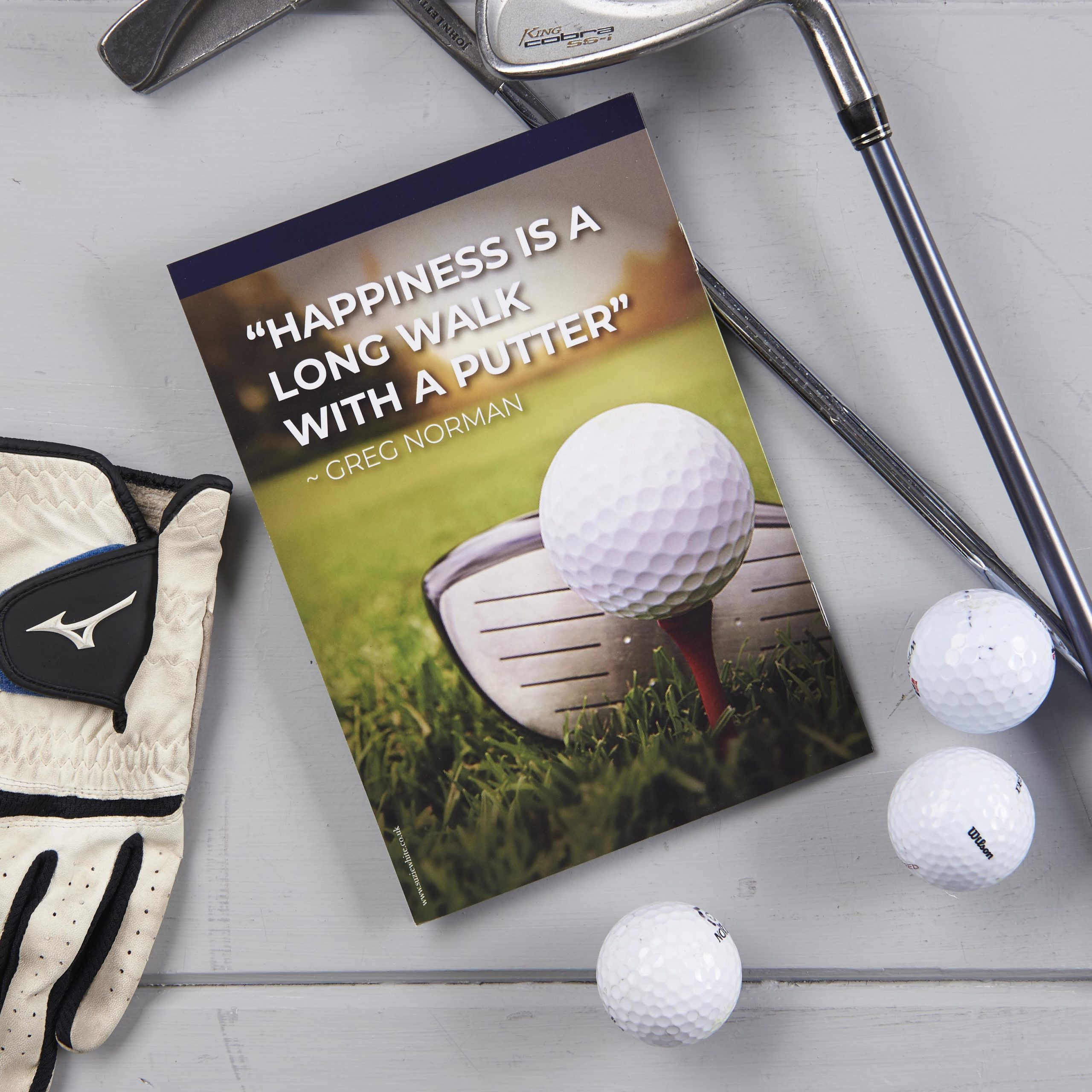 Golf theme funeral order of service, golf theme, golf magazine cover design, golf themed funeral
