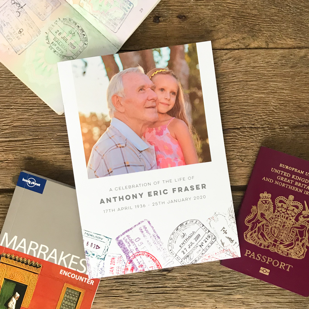 Passport stamps order of service. Passport stamps funeral order of service. Travel theme order of service. Celebration of life.
