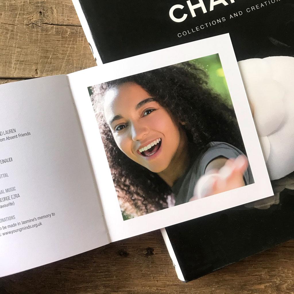 Modern square memorial book, square funeral order of service, selfie photos, portraits, closeup photos