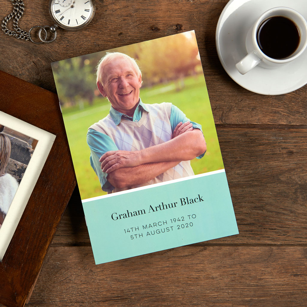 Funeral service booklet. Modern, beautiful funeral stationery. Full page photos. Colour options. Green.
