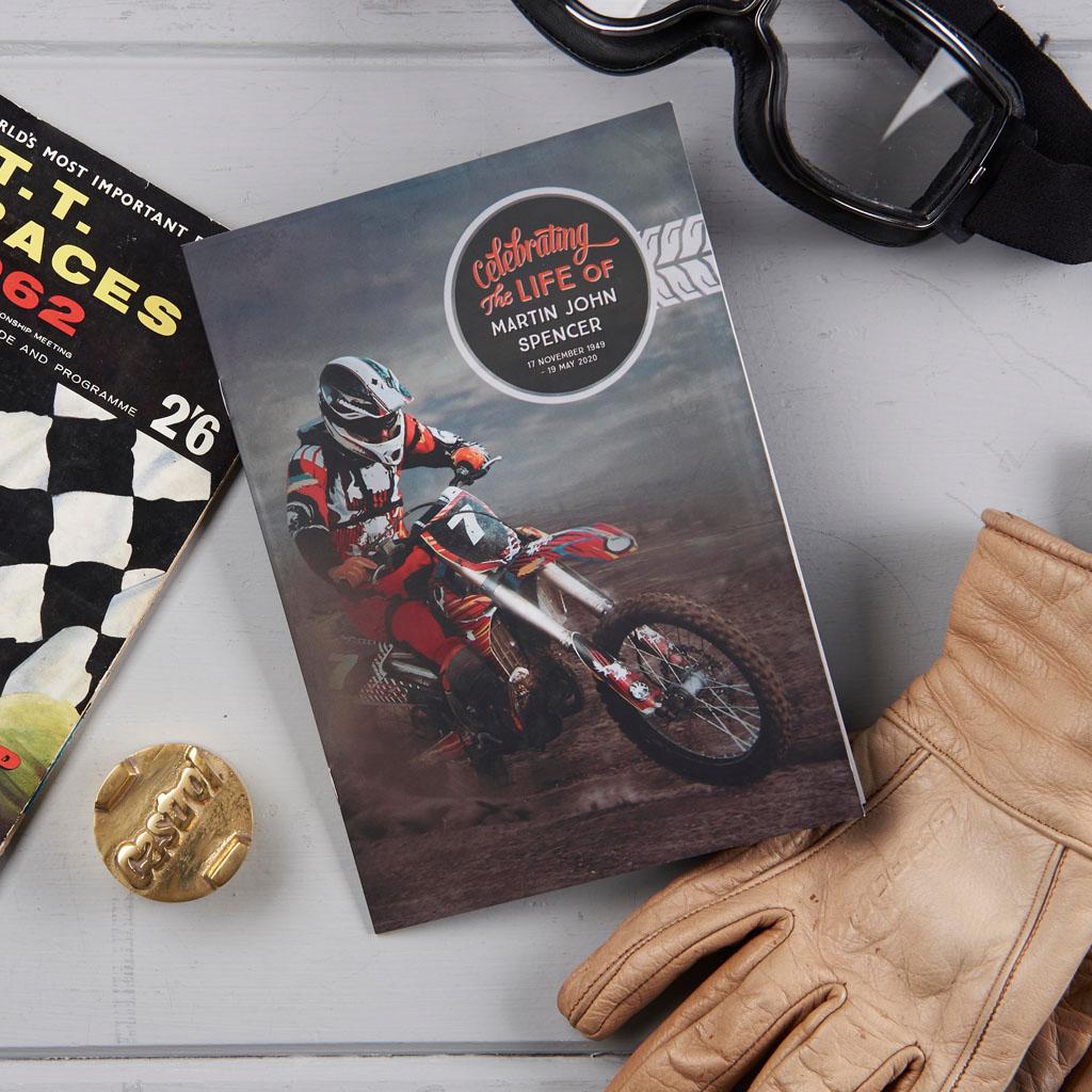 Motorbike theme order of service. Motorcycle funeral stationery. Motorcycle theme funeral.
