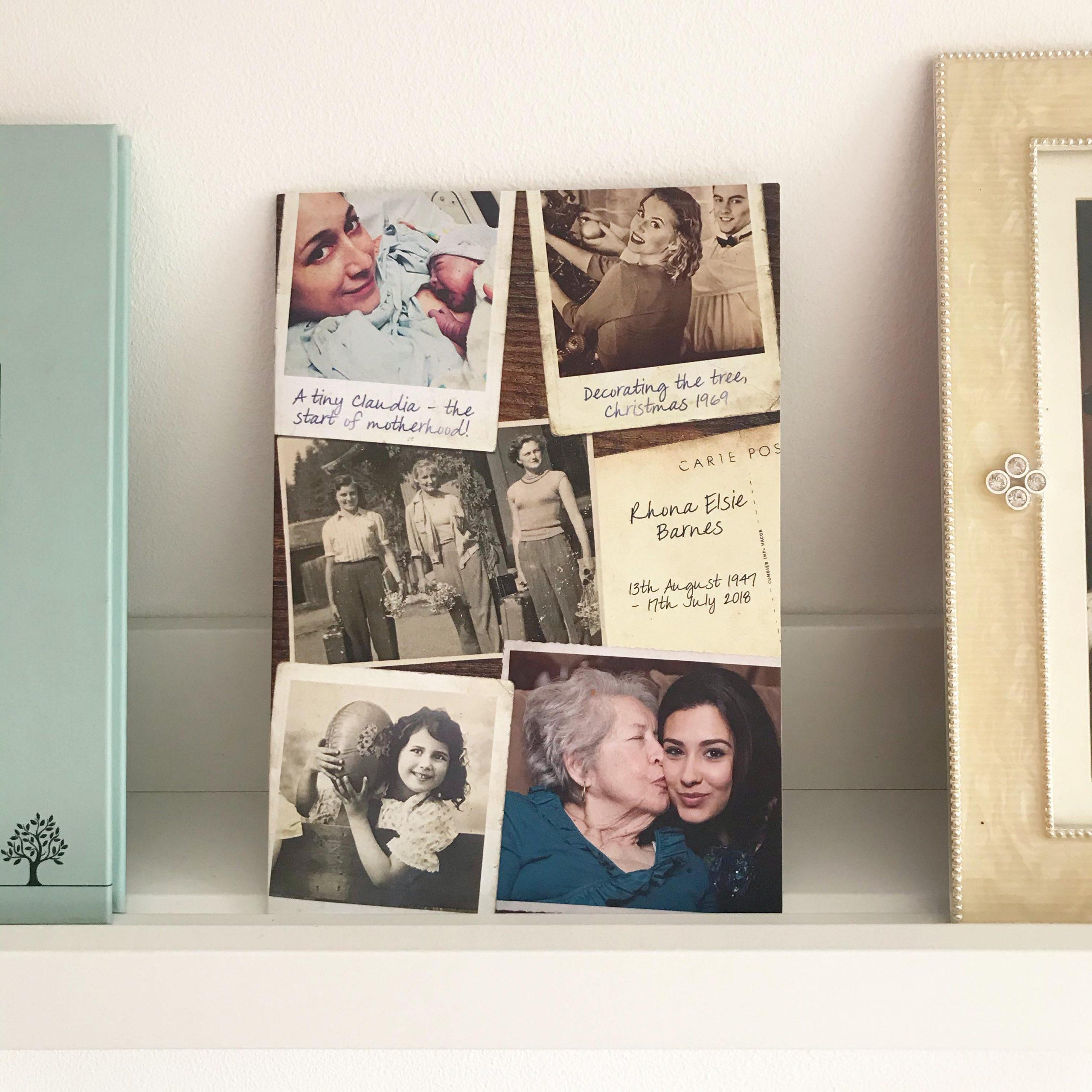 Vintage style order of service. Vintage funeral stationery. Vintage style funeral order of service. Polaroid photos. Retro.
