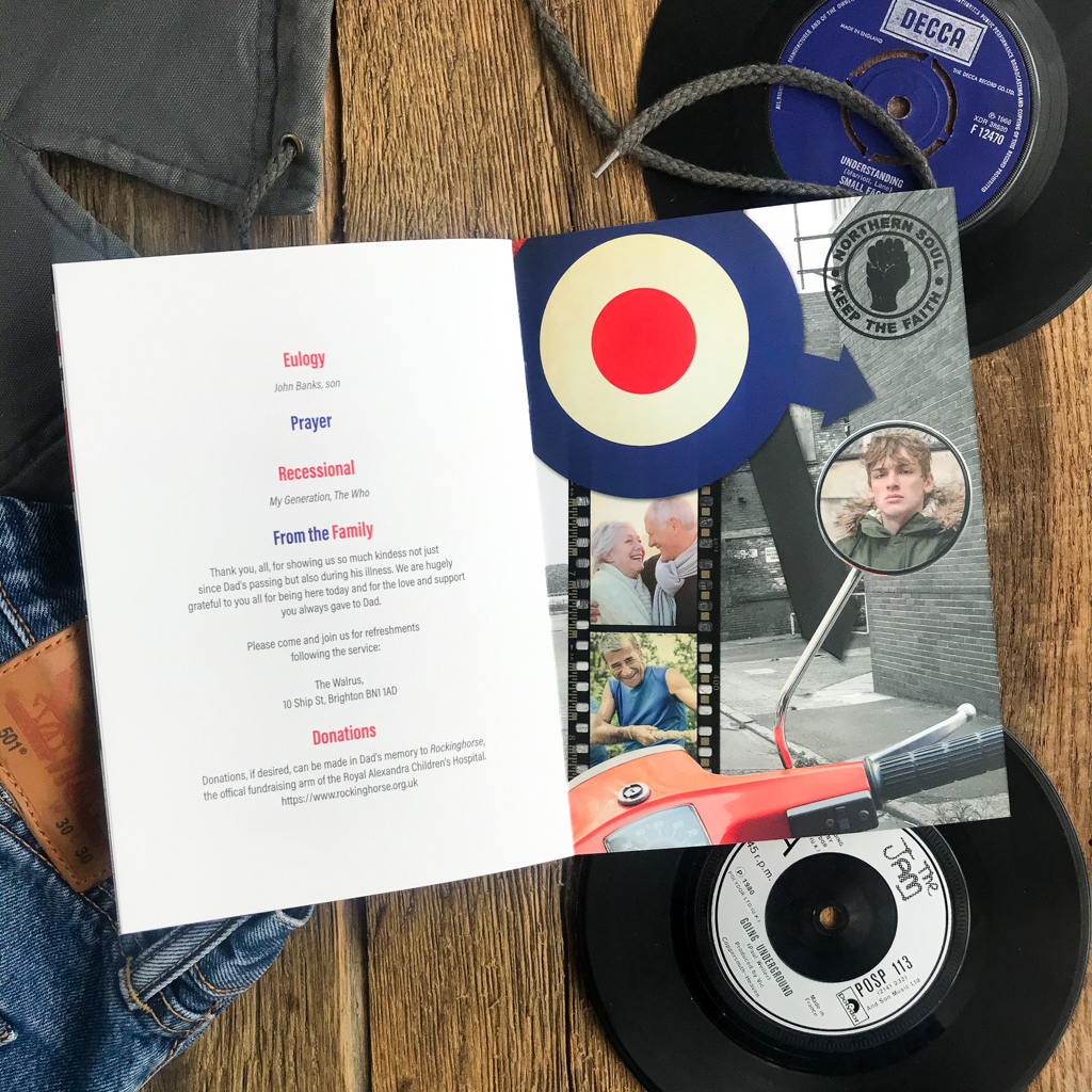 The Mods. Mod theme funeral order of service. Northern Soul, Keep the faith, scooters, Brighton beach, Union Jack. Funeral stationery. We are the Mods.