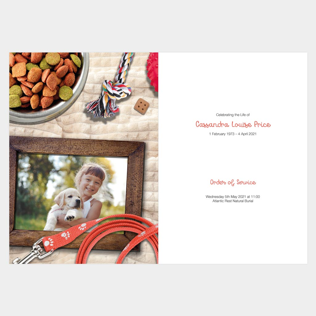 Dog themed funeral Order of Service booklet memorial dog puppy lover